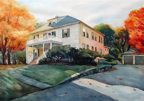 painting of house landscape watercolor paintings
