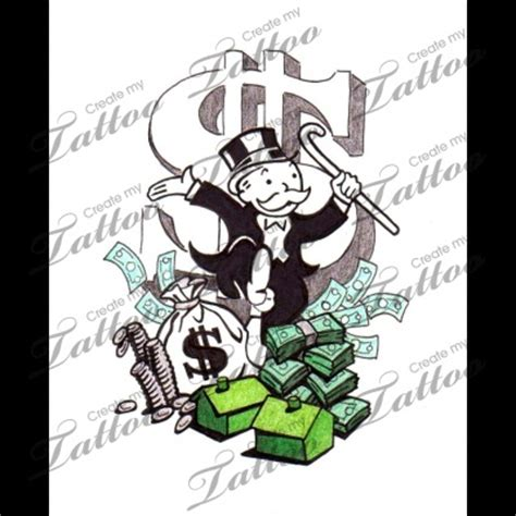 monopoly tattoo designs marketplace monopoly money 8037 createmytattoo
