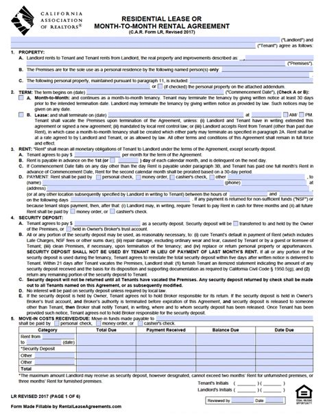 Free California Standard Residential Lease Agreement Template Pdf Word Residential Lease Agreement Template