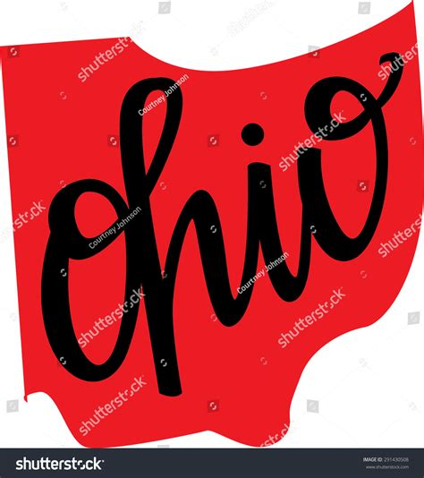 State Of Ohio Address Finder Ohio State Outline And Lettering Stock Vector 291430508
