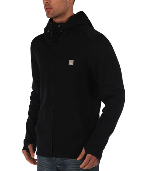 mens bench hoodies bench assertive plain zip thru hoodie in black for men lyst