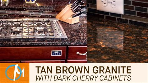 Ideas For Tops Of Kitchen Cabinets by Tan Brown Granite Kitchen Countertops With Dark Cherry