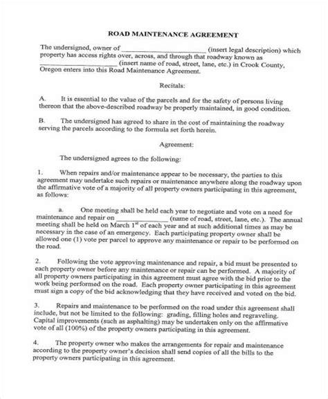 Sle Road Maintenance Agreement Forms 6 Free Documents In Word Pdf Road Maintenance Agreement Template