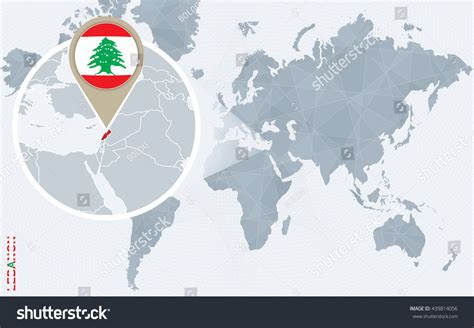 lebanon on the world map abstract blue world map magnified lebanon stock vector