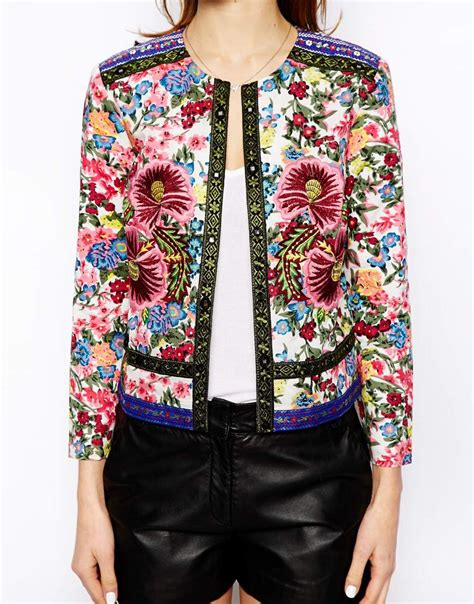 embroidery jacket lyst asos jacket with statement floral embroidery
