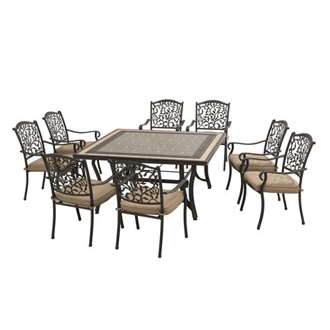 Sunjoy Legacy 9 Piece Patio Dining Set with Beige Cushions