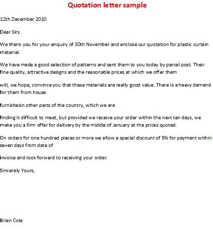 business letter format for quotation business letter sles quotation letter sle