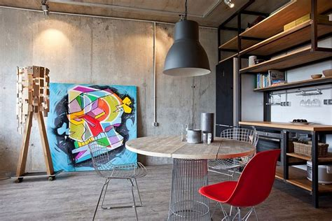 modern pop art style apartment small modern industrial apartment draped in metal wood