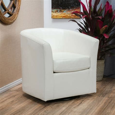 contemporary  white leather swivel club chair ebay