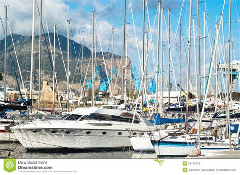 boats in italy called yachts and boats in old port in palermo royalty free stock