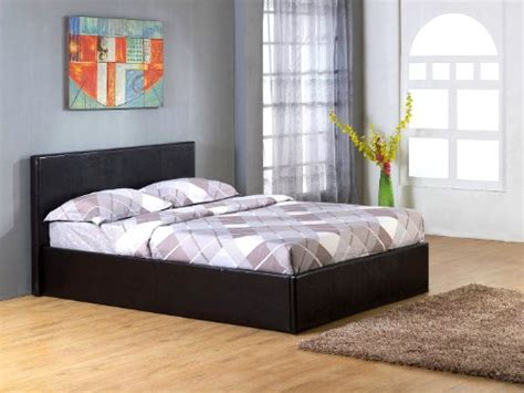 4 ottoman bed 4ft 6in black gas lift up double ottoman storage bed black