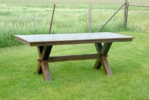 Picnic Table Style Dining Set Lg Custom Woodworking Trestle Picnic Style Dining Table And Bench