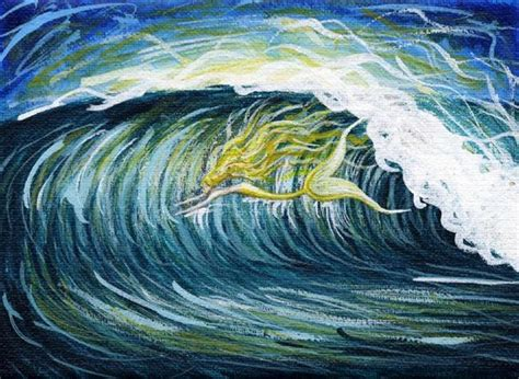 mermaid waves perm goldfish mermaid surfing wave by hiroko reaney from more