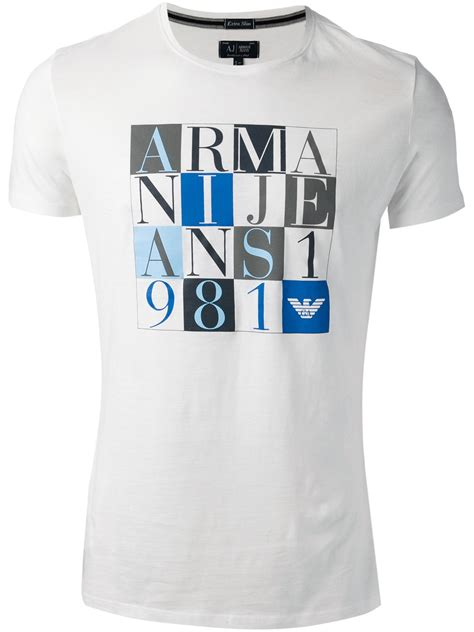 Armani T Shirt armani logo t shirt in white for lyst