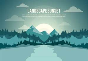 free landscape sunset illustration vector background