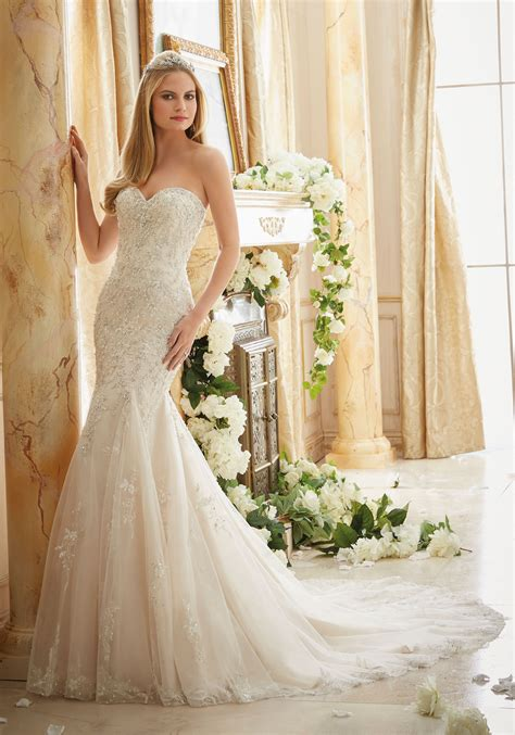 Dresses For Wedding - crystallized allover embroidery on soft tulle style 2886