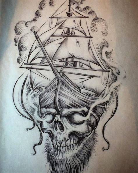 black ink pirate skull with ship tattoo flash