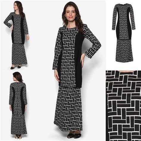 Baju Shilpa Black 1 fesyen baju kurung moden terkini black white monochrome