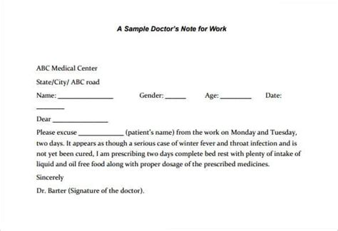 Doctors Excuse Templates For Work by Free Printable Doctors Note For Work Health Symptoms And