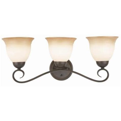 home depot light fixtures bathroom design house cameron 3 light rubbed bronze bath light