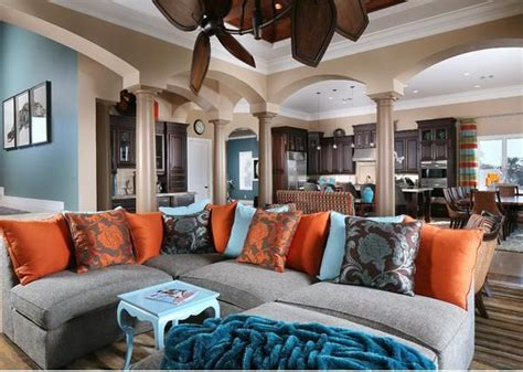 Blue And Brown Color Scheme For Living Room by Living Room Blue Orange And Brown Color Scheme Design