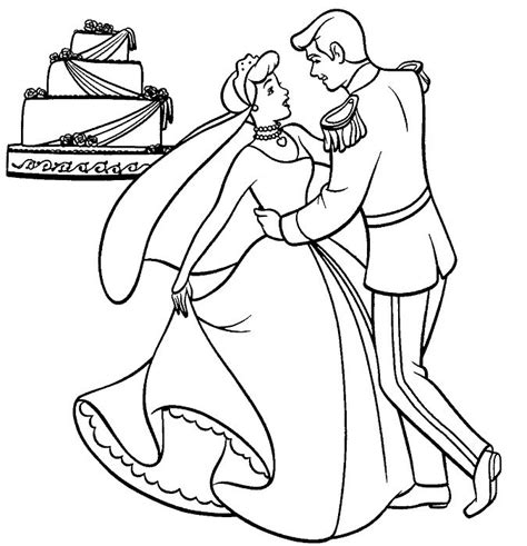 cinderella dog coloring pages cinderella and prince with wedding cake coloring page