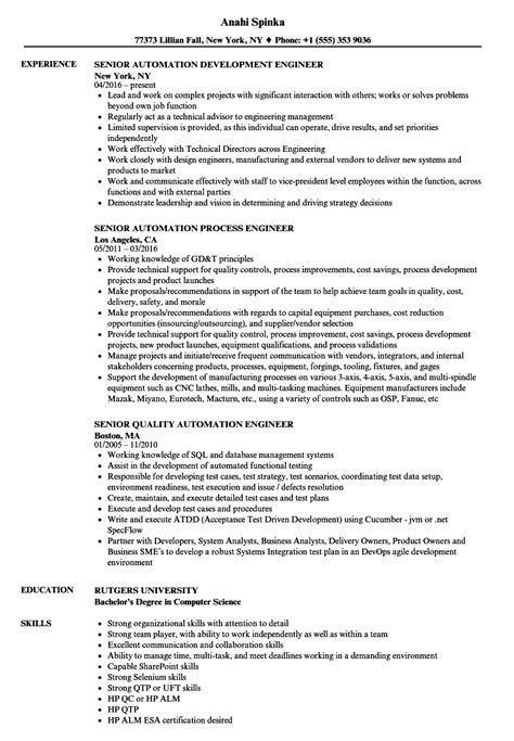 automation engineer sle resume integration specialist