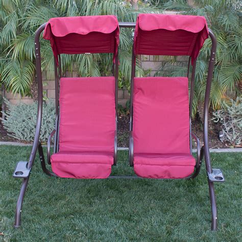 two seater swing set new outdoor double swing set 2 person canopy patio