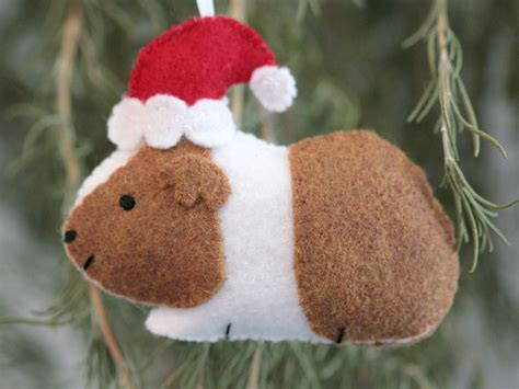 guinea pig ornament felt guinea pig with santa hat ornament