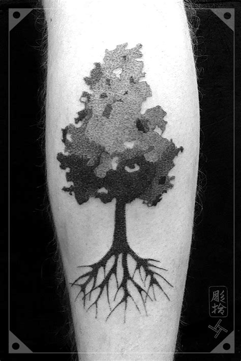 tree dotwork blackwork tattoo dotwork blackwork