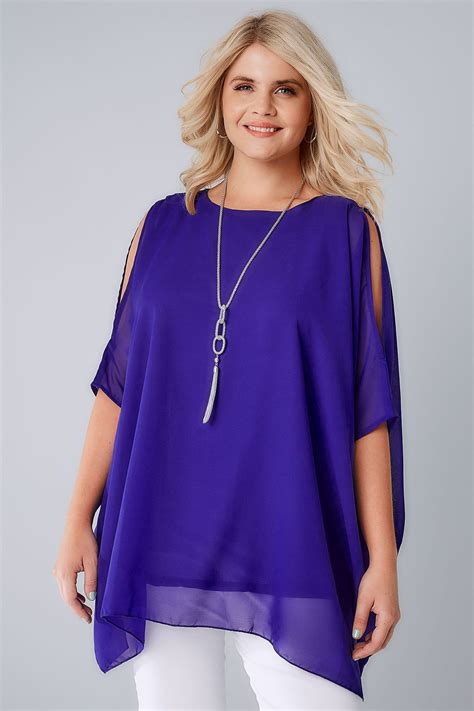 Chiffon Top cobalt blue cold shoulder chiffon top with batwing sleeves