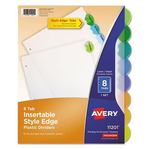 Ave11201 Avery Insertable Style Edge Tab Plastic Dividers Zuma Avery Tab Inserts For Dividers 8 Tab Template
