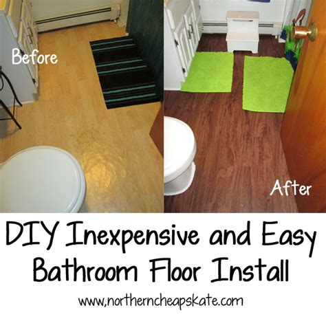 easy to install flooring for bathroom diy inexpensive and easy bathroom floor install