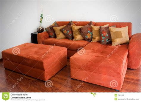 Burnt Orange Home Decor by Orange Sofa Stock Photo Image 7824990