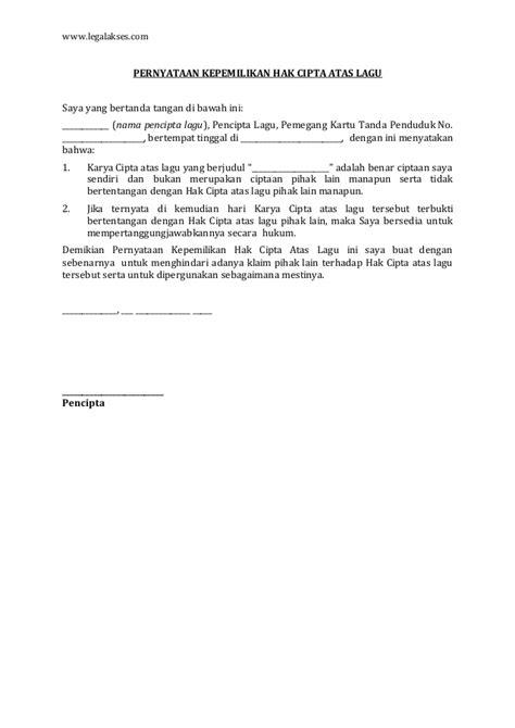 format surat pernyataan kepemilikan harta surat pernyataan kepemilikan hak cipta atas lagu