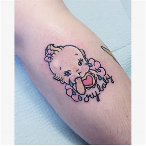 cry baby tattoo kawaii style cry baby on the calf kawaii tattoos