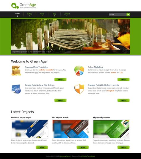 free html gallery template green age free html css templates