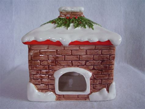 christmas house tea light votive candle holder ceramic