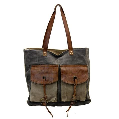 Mona Tote Bag Brown mona b large tote charcoal leather rugged canvas