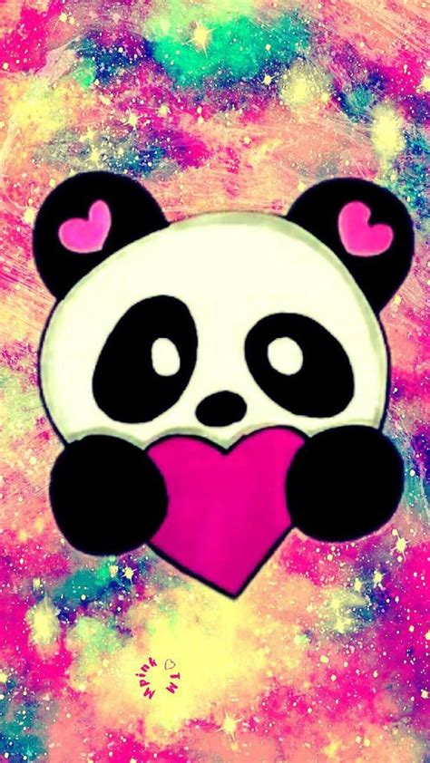 cute panda love galaxy panda wallpaper heart love cute  love    panda