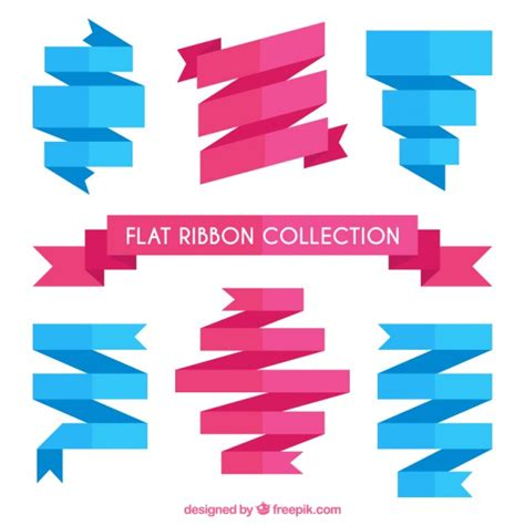 pink flat color flat ribbons set in pink and blue colors vector free