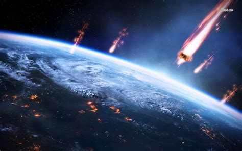 meteorite crashes  earth wallpaper fantasy