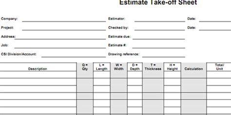 take sheet template bid form estimate worksheet cost sheet estimate format