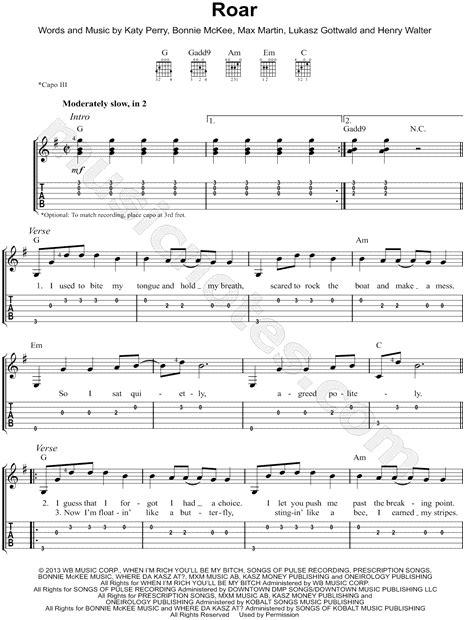 printable lyrics roar katy perry quot roar quot guitar tab in g major download print