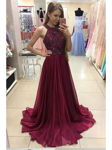 A Line Evening Gown a line burgundy beaded chiffon prom dresses evening