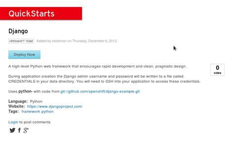 django quick tutorial learning django with openshift crunch tools