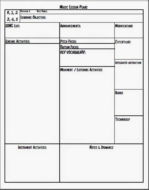 template of lesson plan melodysoup lesson plan template