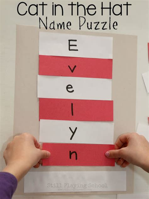 cat in the hat crafts for dr seuss cat in the hat name puzzle craft still