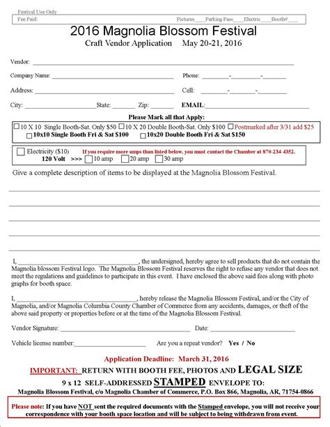Craft Show And Sale Magnolia Blossom Festival Craft Vendor Application Template