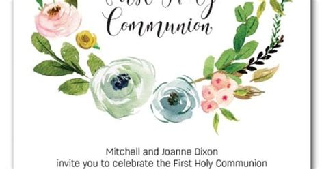 spring wreath first holy communion invitations a beautiful watercolor wreath of spring flowers these